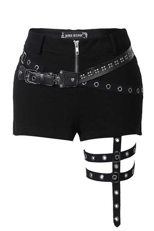 Lorna Strap Shorts by Dark in Love | Ladies Gothic Clothing
