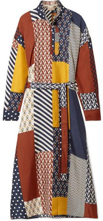 Bianca Patchwork Printed Silk-twill Midi Dress - Navy