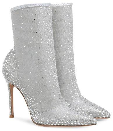 GIANVITO ROSSI Silver Crystal Aurora Boots