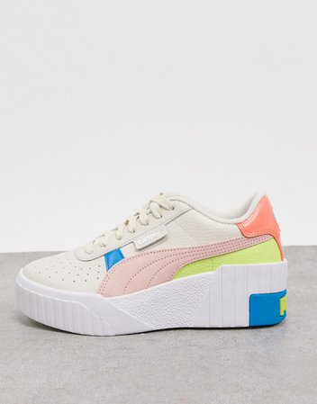 Puma Cali Wedge Pop sneakers in white | ASOS