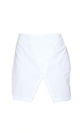 White Linen Look Button Split Hem Mini Skirt | PrettyLittleThing USA