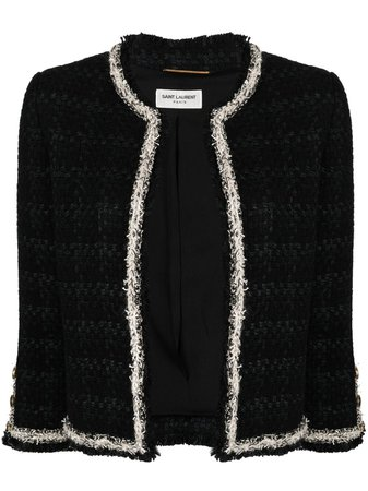 Shop black Saint Laurent cropped tweed jacket with Express Delivery - Farfetch