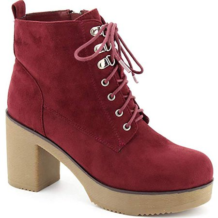 Women's Booties Block Heel Cleated Sole Lace up Platform Ankle Boots GD02 | Ankle & Bootie