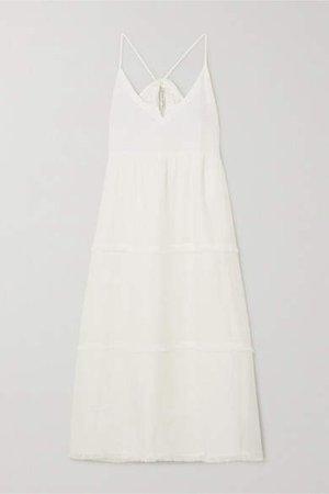 Corsica Frayed Tiered Linen Midi Dress - White