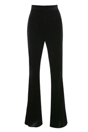 Clothing : Leggings : 'Rihanna' Black Velvet High Waist Trousers
