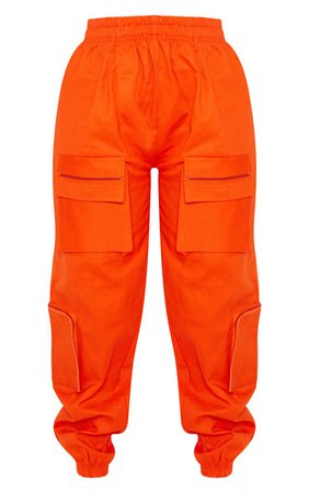 Neon Orange 3D Pocket Cargo Trouser | PrettyLittleThing USA