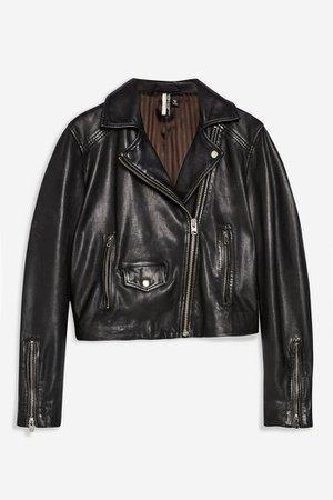 Black Leather Biker Jacket | Topshop