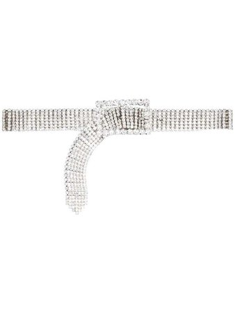 Alessandra Rich crystal embellished belt - Metallic