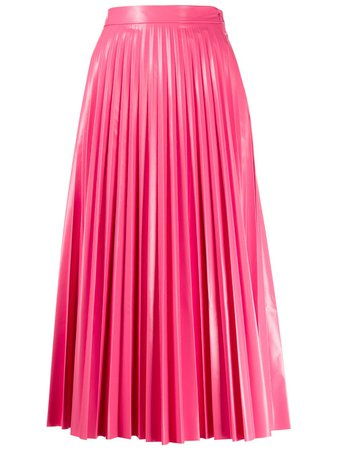 Mm6 Maison Margiela Glossy-Effect Pleated Midi Skirt