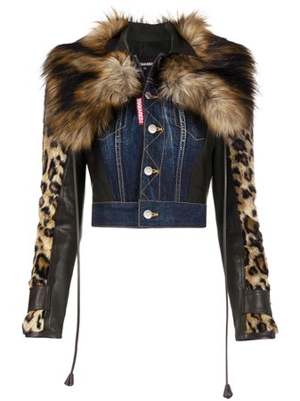 Dsquared2 leopard-sleeve Cropped Denim Jacket - Farfetch