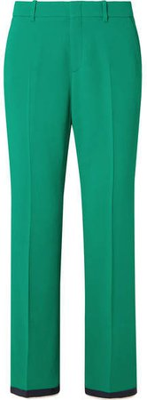 Grosgrain-trimmed Stretch-cady Bootcut Pants - Green
