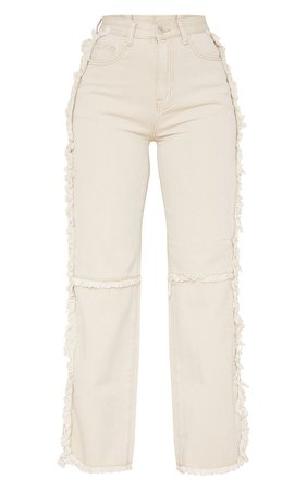 Washed Stone Wide Leg Seam Detail Jeans   PrettyLittleThing USA