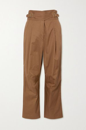 Ladybeetle Buckled Cotton-twill Tapered Pants - Army green