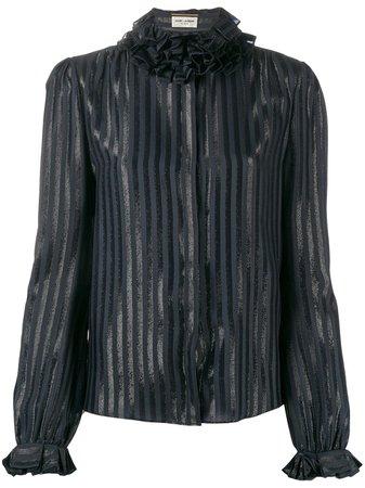 Blue & black Saint Laurent ruffle-collar striped shirt - Farfetch
