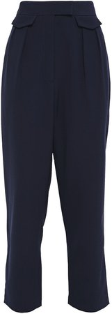 Cecilia Cropped Pleated Crepe Tapered Pants