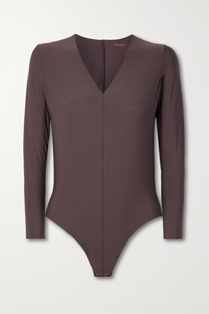 Butter Stretch-micro Modal Jersey Thong Bodysuit - Grape