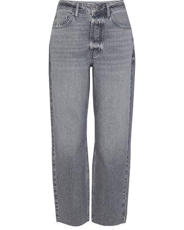 Grey high waisted wide leg jeans | River Island