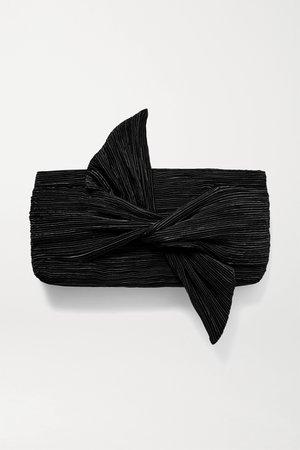 Black Banu bow-embellished plissé-satin clutch | Cult Gaia | NET-A-PORTER