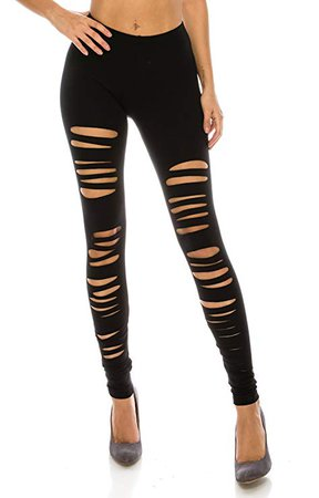 CNC Style Women Full Length Cut Out Rip Distressed Elastic Pull on Stretch Stretch Yoga Leggings Tights S to Plus (Medium, Black) at Amazon Women's Clothing store
