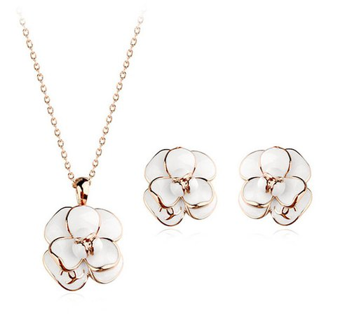 Italian 18K Gold Plated Black/White Epoxy Rose Flower Jewelry Set ! Classic Design Pendant Necklace and Earring Set Wholesale-in Jewelry Sets from Jewelry & Accessories on Aliexpress.com | Alibaba Group