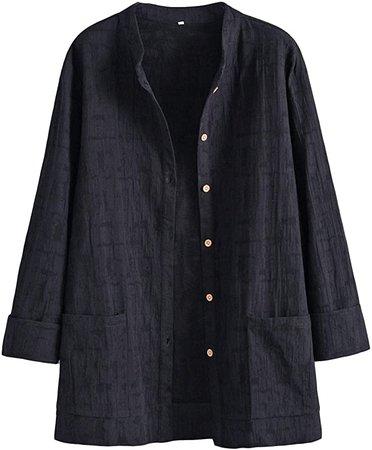 Minibee Women's Lightweight Blouse Jacket Jacquard Cotton Linen Shirt Tops Wine Red at Amazon Women's Clothing store