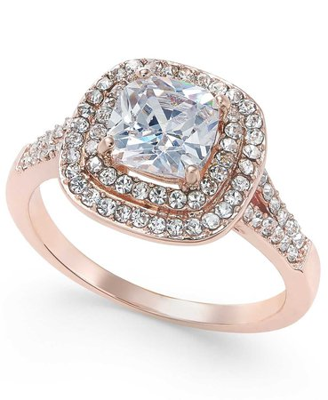 Charter Club Rose Gold-Tone Stone and Crystal Double Halo Statement Ring, Created for Macy's - Fashion Jewelry - Jewelry & Watches - Macy's