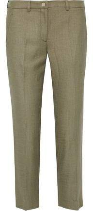 Cropped Twill Straight-leg Pants
