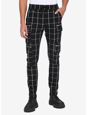 Black & White Grid Cargo Jogger Pants