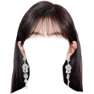 Black Hair PNG Brown Bangs