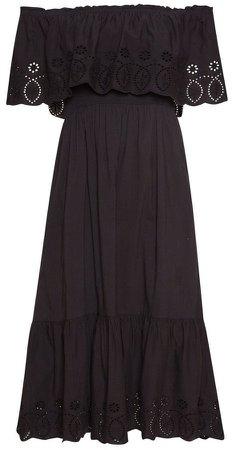 Black Broderie Frill Dress