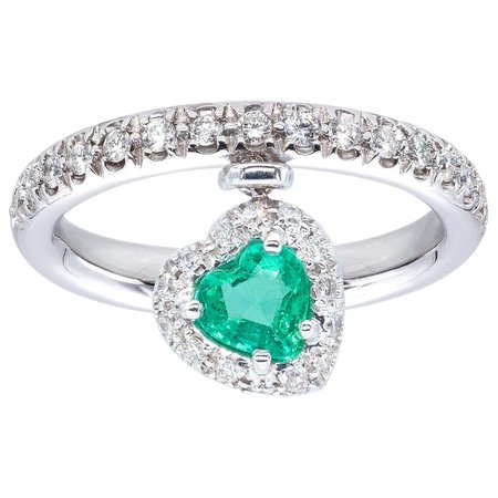 Heart Shape Emerald Ring with Diamonds from d'Avossa True Love Collection For Sale at 1stDibs