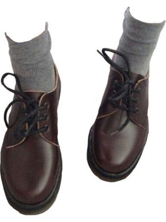Dark brown shoes with grey ankle socks