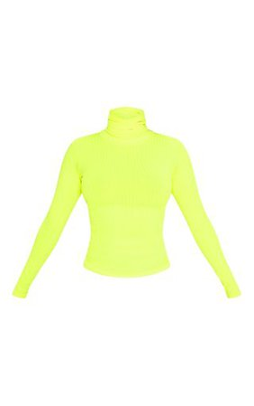 Neon Yellow Rib High Neck Top   Tops   PrettyLittleThing