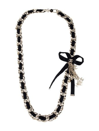 Chanel Silk Bow Chain CC Necklace - Necklaces - CHA343029   The RealReal