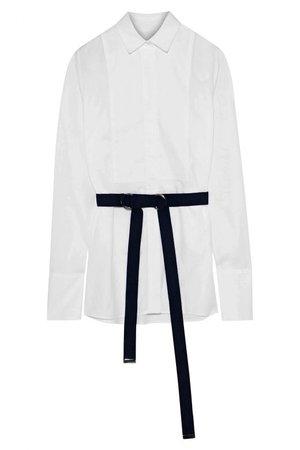 Buy Iris & Ink Cheryl Belted Cotton Poplin White Shirt Online