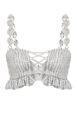 SEQUINED BUSTIER WITH CRYSTAL STRAPS | Raisa Vanessa