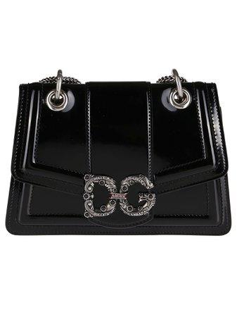 Black Calf Leather Amore Shoulder Bag