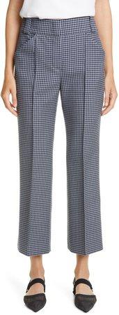 Gingham Wool Crop Bootcut Trousers