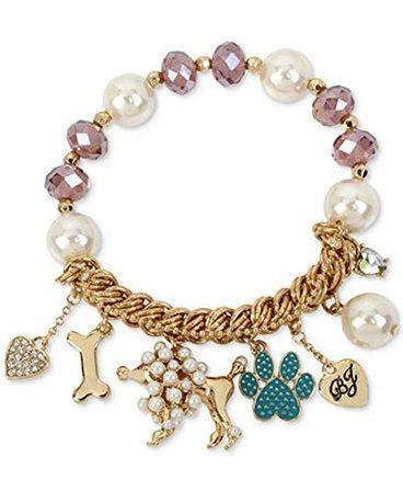 Betsey Johnson Gold-Tone Beaded Poodle Charm Bracelet: Clothing