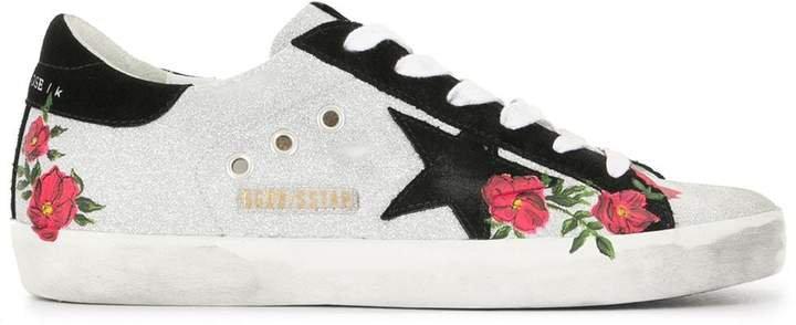 Superstar flower-print glitter sneakers