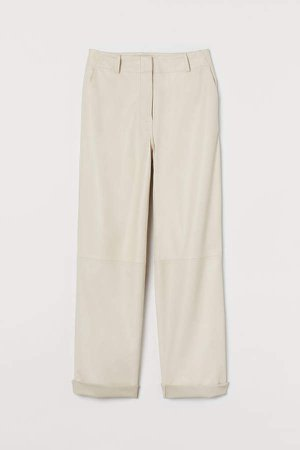 Wide-cut Leather Pants - White