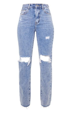 Vintage Wash Long Distressed Straight Leg Jeans | PrettyLittleThing USA