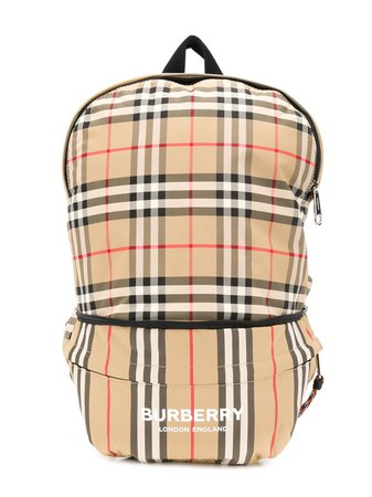 Burberry Kids Signature Checked Print Backpack Ss20 | Farfetch.Com