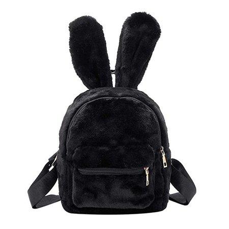Women's Faux Fur Mini Backpack Cute Rabbit Ear Satchel Shoulder bag Purse Plush Handbags Black