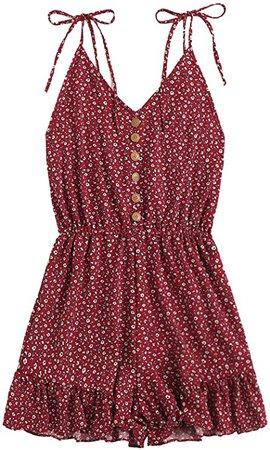 Amazon.com: SheIn Women's V Neck Tropical Print Elastic Waist Tulip Hem Cami Romper: Clothing