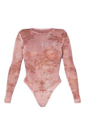 Shape Rose Oriental Mesh Long Sleeved Bodysuit | PrettyLittleThing USA