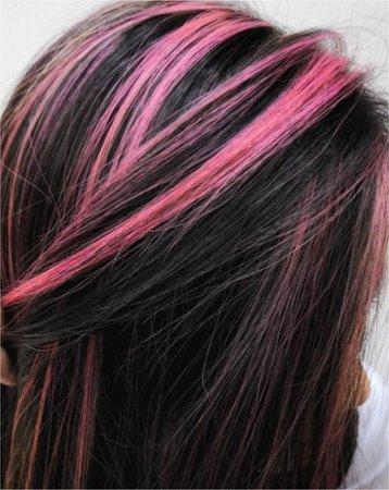 black hair pink highlights