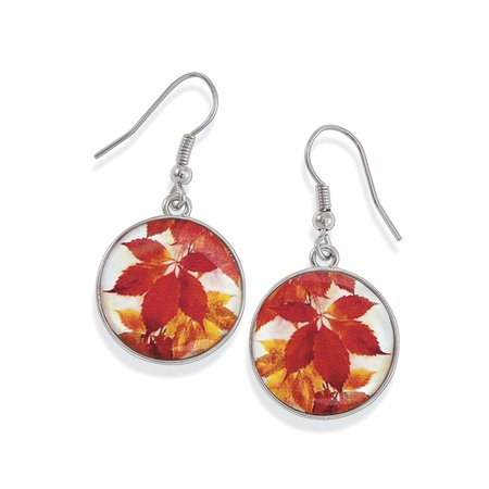Enameled Autumn Leaves Silverplated Earrings & Affordable Fashion Jewelry - Shop Now