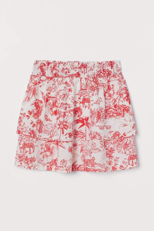 Tiered Cotton Skirt - Red