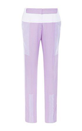 15 Cropped Lilac Pants With Contrast Trim by Prabal Gurung | Moda Operandi